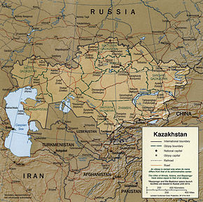 Kart over Republikken Kasakhstan