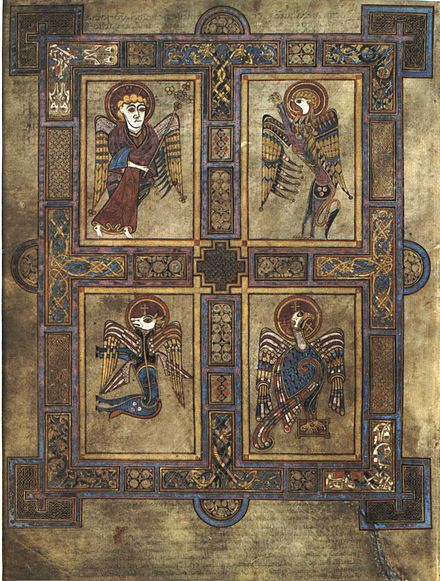 The symbols of the four Evangelists are here depicted in the Book of Kells. The four winged creatures symbolize, clockwise from top left, Matthew, Mark, John, and Luke. KellsFol027v4Evang.jpg