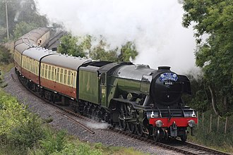 LNER Class A3 4472 Flying Scotsman - Flying Scotsman on the West Somerset Railway on 11 September 2017 in BR livery with prominent German-style smoke deflectors and double chimney.