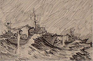 MV Kerlogue - View from Z27 of T25 and T26 being shelled, sketch by Hans Helmut Karsch, who donated it the National Maritime Museum of Ireland