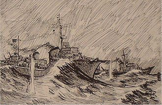 Operation Stonewall - View from Z27 of T25 and T26 being shelled. Drawn by Hans Helmut Karsch, a German sailor, while interned in the Curragh Camp. (National Maritime Museum of Ireland)