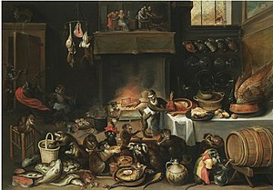 Ferdinand van Kessel - Apes in the kitchen