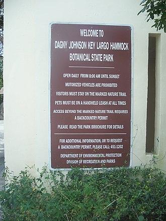 Dagny Johnson Key Largo Hammock Botanical State Park - Image: Key Largo FL Dagny Johnson Key SP sign 01