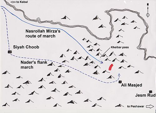 "The flank march of Nader's army at Battle of Khyber pass has been called a ""military masterpiece"" by the Russian general & historian Kursinski Kheibar pass 001.jpg"