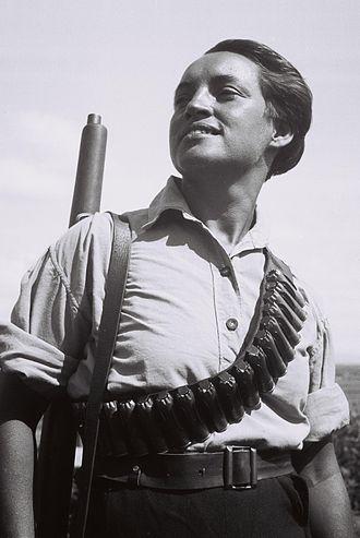 Ma'abarot, Israel - A member of Kibbutz Ma'abarot on guard duty, 1936