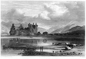 Kilchurn Castle - Image: Kilchurn Castle engraving by William Miller after H Mc Culloch
