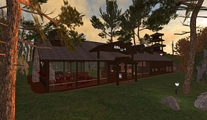 Kira Institute - The Kira Café at sunset in Second Life
