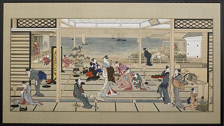 A painting of finely-dressed Japanese women at a party overlooking the sea
