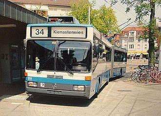 Trolleybuses in Zürich - A Mercedes-Benz O405 GTZ in Zürich, 2006.