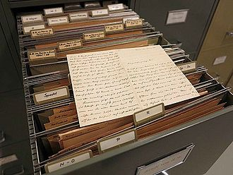 Nachlass - The Nachlass of the Austrian philosopher Rudolf Steiner is housed in the Rudolf Steiner Archiv in Dornach, Switzerland. This file drawer houses the philosopher's letters to individuals with surnames from N through Z.