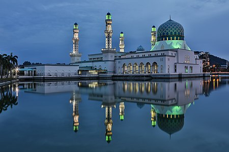 Kota Kinabalu City Mosque in Likas Quarter during blue hour