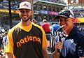 Kris Bryant chats with his college coach, University of San Diego's Rich Hill, on Gatorade All-Star Workout Day. (28374149800).jpg