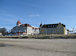 Spa buildings at the beach showing local resort architecture