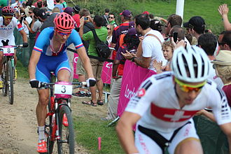 Czech Republic at the 2012 Summer Olympics - Jaroslav Kulhavý (in blue) and Swiss Nino Schurter making pace atop men's MTB cross country race