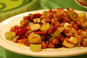 English: Kung Pao chicken dish served at a Sic...