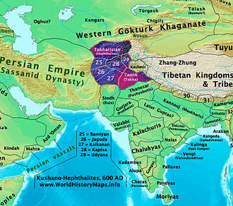 Hephthalite Empire - Hephthalite successor kingdoms in 600.