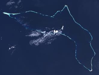 Kwajalein Atoll - Landsat satellite image of Kwajalein Atoll