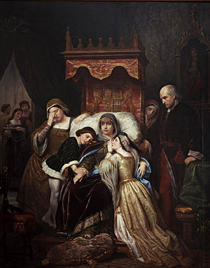 Isabella of Portugal, Queen of Castile - The dementia of Isabella of Portugal (In Spanish: La demencia de Isabel de Portugal). Portrait attributed to the painter Pelegrí Clavé, which shows the widowed queen of Castile, Isabella of Portugal and Braganza, in one of her fits of insanity. Beside her are her youngest son, Alfonso of Castile (left) and her eldest daughter, the future Queen Isabella (right), along with other individuals from the small circle that accompanied the family into exile.