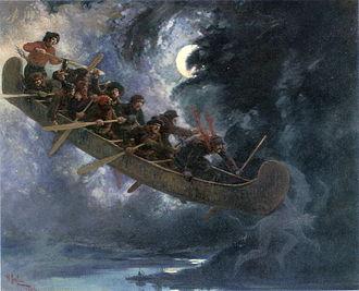Culture of Quebec - La chasse-galerie (1906) by Henri Julien, showing a scene from a popular Quebec folk legend.