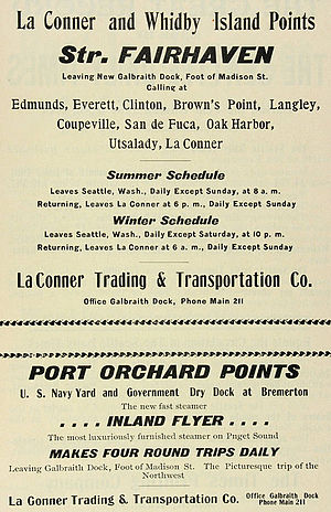 Fairhaven (sternwheeler) - Image: La Connor Trading Company advertisement 1901