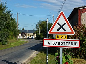 La Sabotterie (Ardennes) city limit sign.JPG