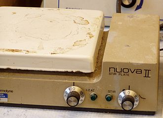 Hot plate - This laboratory hot plate with magnetic stirrer is used for preparing chemicals used in scientific research.