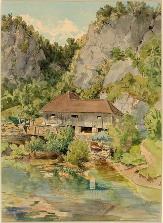 Močilnik Springs - Močilnik by Ladislav Benesch (watercolor, 1887), kept by the National Museum of Slovenia