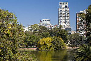 Urban park - Parque Tres de Febrero, in Buenos Aires, Argentina, has a lake, a rose garden and a planetarium, among other attractions.