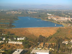 Miramar Reservoir - Aerial view of the lake looking toward the east