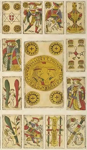 Spanish playing cards - Toledo pattern cards from 1574. They are closely related to the Seville and Franco-Spanish patterns.