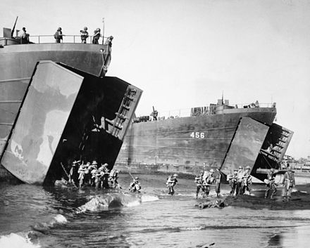 Australian troops disembarking from American Landing Ships, during the operation to capture Lae, September 1943 Landing at Red Beach.JPG