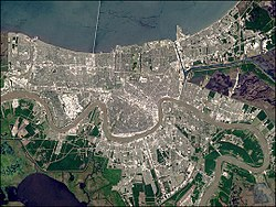 A true-color satellite image of New Orleans taken on NASA's Landsat 7