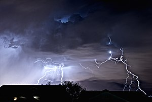 Henderson, Nevada - A lightning storm as seen from Henderson, looking toward the Las Vegas Strip