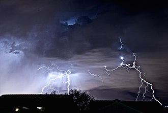 Henderson, Nevada - A lightning storm as seen from Henderson, looking toward the Las Vegas Strip