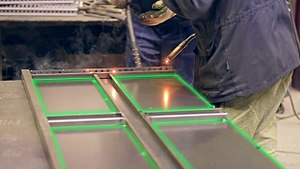 Laser projector - In the steel industry for example laser projectors are used for the steel framing. Thereby the frame where the steel needs to be welded can be displayed.
