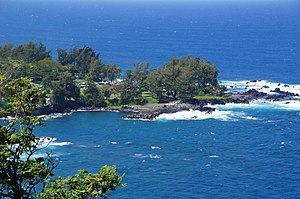 Laupāhoehoe, Hawaii - View of Laupahoehoe Point from the highway near the signage shown below