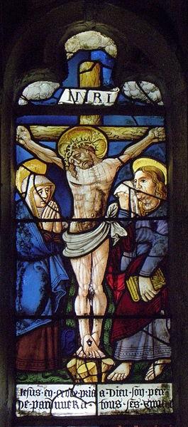 Maîtresse-vitre de l'église Saint-Jean-Baptiste de Le Croisty (56). Détail. Crucifixion.