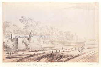 Wall of Charles V - The bastion and the walls of la Bastille in the eighteenth century