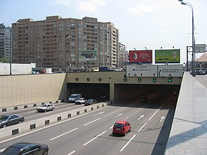 Third Ring Road (Moscow) - The Third Ring Road crosses the Moskva River by the Lefortovo Tunnel in eastern Moscow. The tunnel is the 3rd longest urban tunnel in the world. The image shown here is the north exit of the tunnel in the Basmanny District.