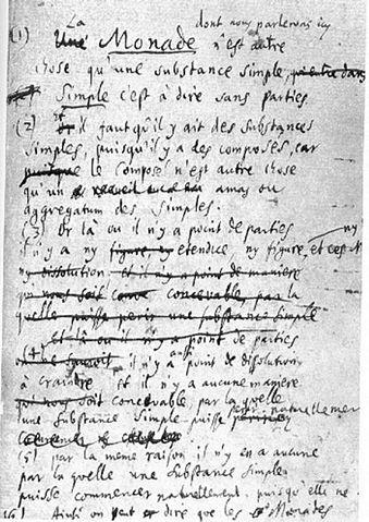 Первый лист работы Лейбница «Монадология»