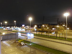 Local-express lanes - Express and local lanes of Leningradsky Avenue in  Moscow, Russia.