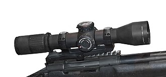 Telescopic sight - Leupold and Stevens Mark 6 scope with variable magnification X3-X18, mounted on a M24 SWS.