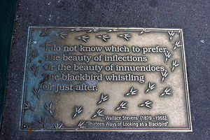 "Thirteen Ways of Looking at a Blackbird - Plaque in New York, with section five of ""Thirteen Ways of Looking at a Blackbird""."