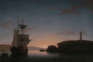 Curtis Island Light - Lighthouse at Camden, Maine, oil on canvas, by Fitz Hugh Lane, 1851. Yale University Art Gallery