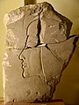 Limestone trial piece of a private person. Head of a princess on the reverse. Reign of Akhenaten. From Amarna, Egypt. Petrie Museum of Egyptian Archaeology, UCL, London.jpg