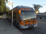 A Metro Local articulated bus at layover on Line 233 (Van Nuys Blvd.).
