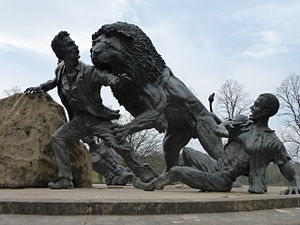 Blantyre, South Lanarkshire - Livingstone's famous encounter with the lion at Mabotsa is the subject of a bronze sculpture in the grounds of the David Livingstone Centre. It was designed by Ray Harryhausen who was married to one of Livingstone's descendants from the American branch of the family.