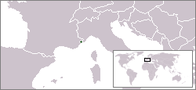 A map showing the location of Monaco