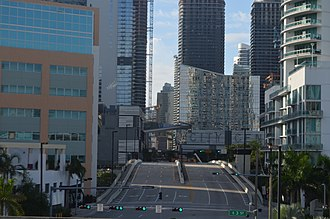 Miami Avenue - Looking south from Third Street station in 2016 after construction of Brickell City Centre and other new buildings.