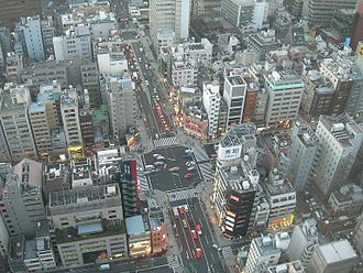Environmental issues in Japan - Densely packed buildings in Hamamatsucho, Tokyo.